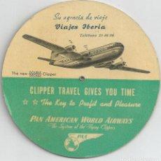 Folletos de turismo: VIAJES IBERIA - CLIPPER TRAVEL GIVES YOU TIME - (HORARIO MUNDIAL) PAN AMERICAN AIRWAYS TIME SELECTOR. Lote 65991330