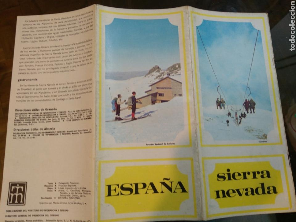 FOLLETO SIERRA NEVADA. DESPLEGABLE. AÑOS 70. GRANADA. MINISTERIO INFORMACIÓN Y TURISMO. CON MAPA (Coleccionismo - Folletos de Turismo)