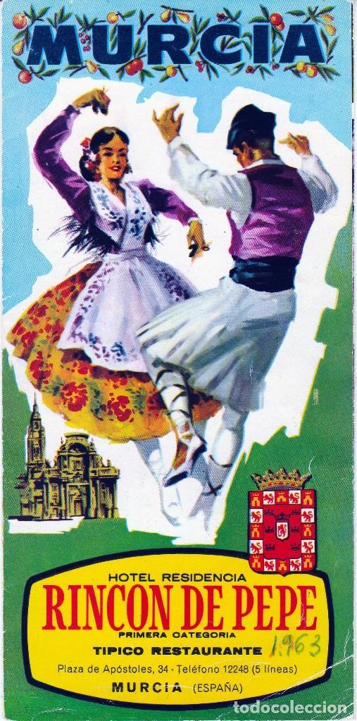 1963. MURCIA . FOLLETO PUBLICITARIO DEL HOTEL RESIDENCIA - RINCON DE PEPE -(4 FOTOS) (Coleccionismo - Folletos de Turismo)