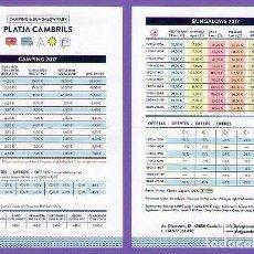 Folletos de turismo: TARIFA DE PRECIOS CAMPING & BUNGALOW PARK PLATJA CAMBRILS AÑO 2017 PLEGADO POR LA MITAD. Lote 74382087