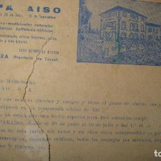 Folletos de turismo: POSTAL DE CORREO ILUSTRATIVA HOTEL BALNEARIO EL PARAISO TERUEL MAZANERA DETERIORADA. Lote 32482579