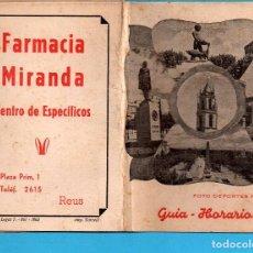 Folletos de turismo: GUIA Y HORARIOS FOTO DEPORTES FERRE AÑO 1962 DOCE FOTOS ADICIONALES DE TODAS LAS HOJAS. Lote 79559417