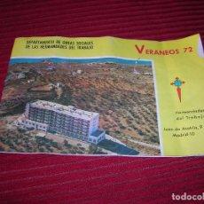 Folletos de turismo: FOLLETO.VERANEOS 72. DEPARTAMENTO DE OBRAS SOCIALES DE LAS HERMANDADES DEL TRABAJO.. Lote 79885341