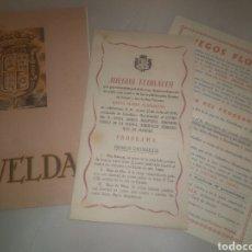 Folletos de turismo: PROGRAMA FIESTAS Y FERIA SANTA MARÍA MAGDALENA NOVELDA 1945 + PROGRAMA JUEGOS FLORALES. Lote 80038955