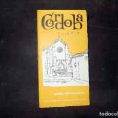 Folletos de turismo: FOLLETO DE TURISMO E INFORMACION DE CORDOBAL. 1964. BUEN ESTADO.. Lote 80481093
