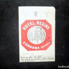 Folletos de turismo: FOLLETO DE TURISMO. HOTEL REGINA. CORDOBA. 1954. BUEN ESTADO.. Lote 80481685