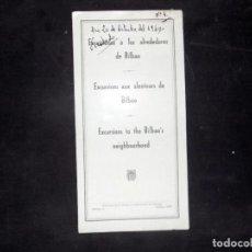 Folletos de turismo: FOLLETO DE TURISMO. EXCURSIONES A LOS ALREDEDORES DE BILBAO. 1960. BUEN ESTADO.. Lote 80482573
