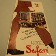 Folletos de turismo: ANTIGUA PUBLICIDAD HOTEL SAFARI DE GANDIA. Lote 85256776