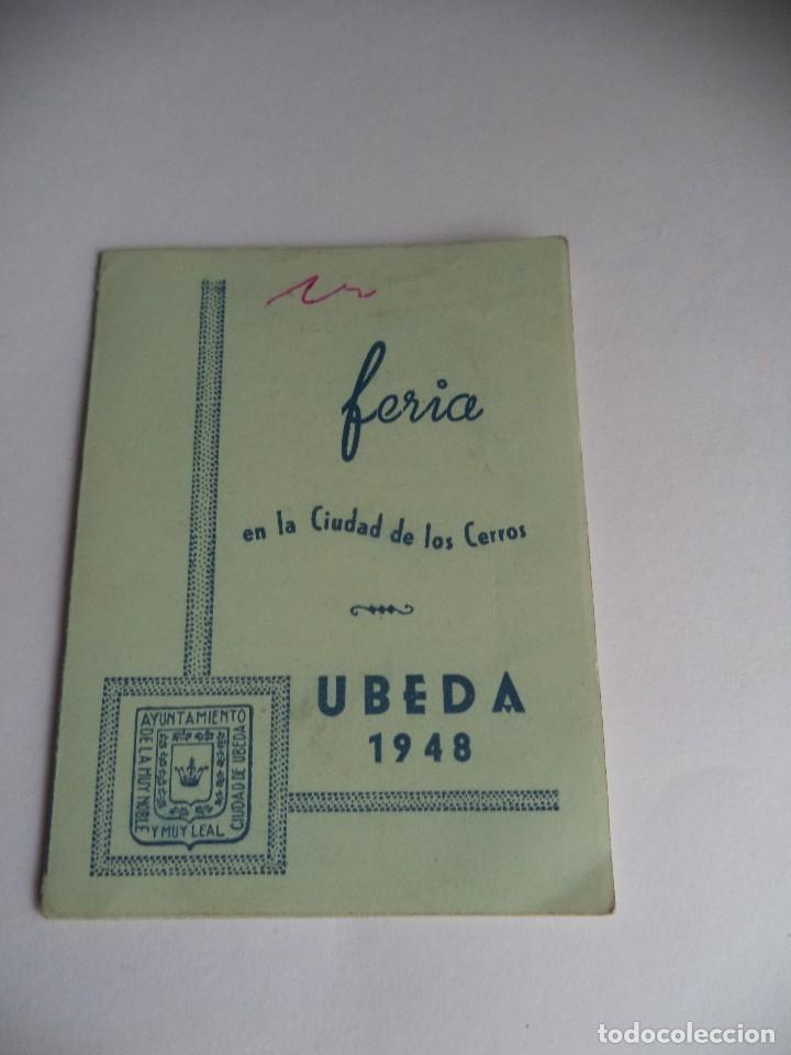 PROGRAMA DE FERIA EN LA CIUDAD DE LOS CERROS UBEDA 1948 (Coleccionismo - Folletos de Turismo)