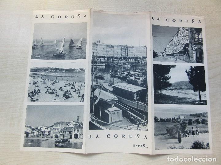 FOLLETO TRÍPTICO DE LA CORUÑA EDITADO POR LA DIRECCIÓN GENERAL DEL TURISMO AÑOS 40 O 50 (Coleccionismo - Folletos de Turismo)