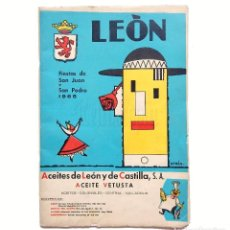 Folletos de turismo: PROGRAMA OFICIAL FIESTAS Y FERIAS SAN JUAN Y SAN PEDRO DE LEON AÑO 1965. Lote 89184924