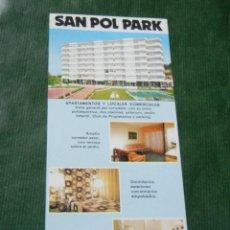 Folletos de turismo: FOLLETO PROMOCION SAN POL PARK - SANT POL DE MAR - AÑOS 1970. Lote 94210144