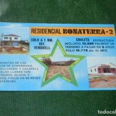Folletos de turismo: FOLLETO PROMOCION URBANIZACION RESIDENCIAL BONATERRA - VENDRELL - AÑOS 1970. Lote 175956082