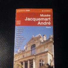 Folletos de turismo: FOLLETO INFORMACIÓN MUSEO JACQUEMART ANDRÉ, PARIS. Lote 94858911