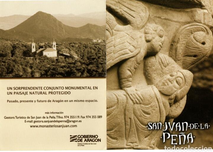 FOLLETO DIPTICO SAN JUAN DE LA PEÑA. HUESCA (Coleccionismo - Folletos de Turismo)
