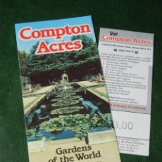 Folletos de turismo: FOLLETO DEL JARDIN - COMPTON ACRES EN POOLE DORSET - AÑOS 1990 - INCLUYE TICKET ACCESO. Lote 95620167