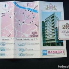 Folletos de turismo: HOTEL RAMIRO I - ZARAGOZA / FOLLETO PUBLICIDAD + POSAVASOS / AÑO 1970. Lote 95863063