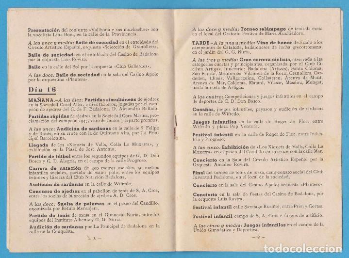 Folletos de turismo: BADALONA. FIESTA MAYOR 1947. FOLLETO CON PROGRAMACIÓN - Foto 4 - 96694315