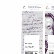 Folletos de turismo: PPRLY - ENTRADAS MUSEO CHOPIN VARSOVIA POLONIA. Lote 96952383