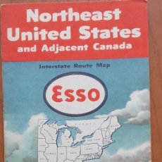 Folletos de turismo: MAPA CARRETERA ESSO. NORTHEAST UNITED STATES AND ADJACENT CANADA. GENERAL DRAFTING CO. EEUU.1951.. Lote 99493327