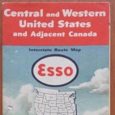 Folletos de turismo: MAPA CARRETERA ESSO. CENTRAL AND WESTERN U.S. AND ADJACENT CANADA. GENERAL DRAFTING CO. EEUU.1951.. Lote 99493695