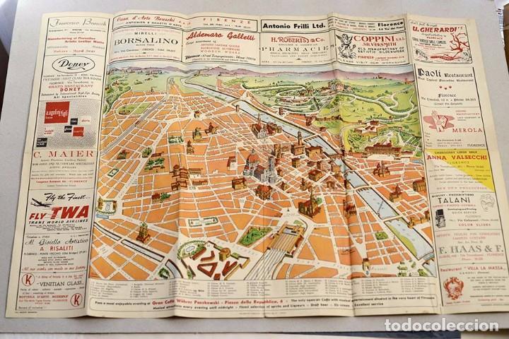Mapa Turistico De Florencia.Antiguo Mapa Turistico Florencia Con Anuncios