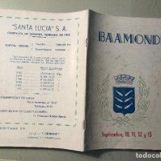 Folletos de turismo: BAAMONDE FIESTAS 1953 LUGO GALICIA . Lote 102105927