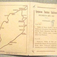Folletos de turismo: AGRUPACIÓN TURÍSTICA EULALIENSE EXCURSIÓN AÑO 1951 COSTA BRAVA GARROTXA OSONA CERTAMEN FOTOGRAFIA. Lote 102446475