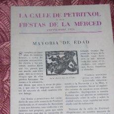 Folletos de turismo: (F.1) FOLLETO DE LA CALLE PETRITXOL Y SUS FIESTAS DE LA MERCED AÑO 1954 . Lote 105242911