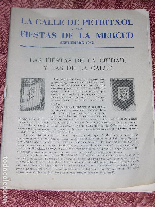 (F.1) FOLLETO DE LA CALLE PETRITXOL Y SUS FIESTAS DE LA MERCED AÑO 1962 (Coleccionismo - Folletos de Turismo)