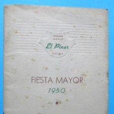 Folletos de turismo: TERRAZA JARDÍN EL PINAR. FIESTA MAYOR DE GELIDA, 1950.. Lote 105929283