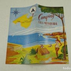 Folletos de turismo: DÍPTICO CAMPING CALA MESQUIDA, CAPDEPERA, MALLORCA. 10,5X21CM. Lote 106689311