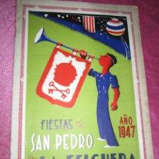 Folletos de turismo: CARTEL Y PROGRAMA FIESTAS DE SAN PEDRO LA FELGUERA ASTURIAS 1947 CON FOTOGRAFIAS Y PUBLICIDAD,. Lote 53577923