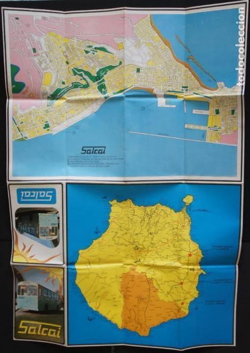 Folletos de turismo: Folleto autobuses (Guagua) Salcai de Gran Canaria: Lineas, horarios, mapa, plano callejero - Foto 5 - 107738855