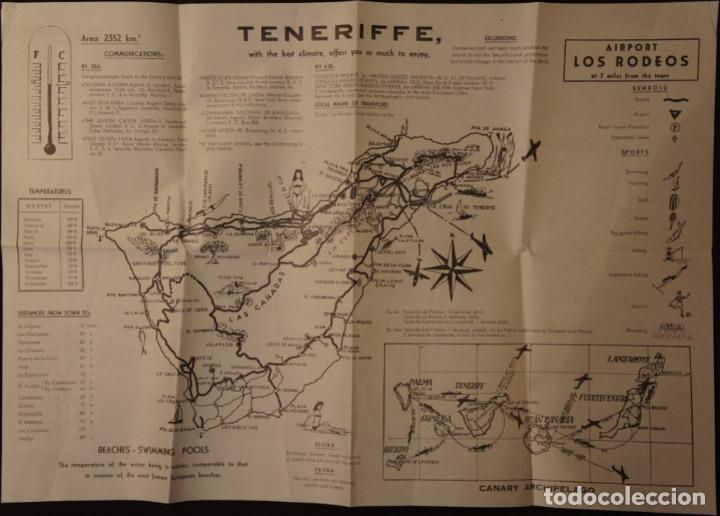 ANTIGUO MAPA – FOLLETO TURÍSTICO DE TENERIFE, CON CALLEJERO DE SANTA CRUZ. AÑOS 60 (Coleccionismo - Folletos de Turismo)