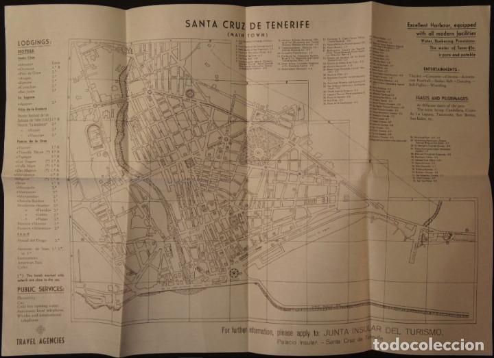Folletos de turismo: Antiguo Mapa – Folleto turístico de Tenerife, con callejero de Santa Cruz. Años 60 - Foto 2 - 109508271