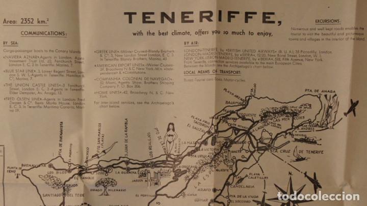 Folletos de turismo: Antiguo Mapa – Folleto turístico de Tenerife, con callejero de Santa Cruz. Años 60 - Foto 4 - 109508271