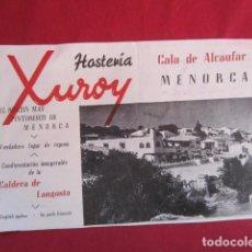 Folletos de turismo: MENORCA - FOLLETO HOSTERÍA XUROY - CALA ALCAUFAR - MENORCA. Lote 109731175