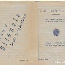 Brochures de tourisme: EL MISTERIO DE ELCHE. BREVE GUÍA PARA EL ESPECTADOR. 1954. 15X10 CM. 4 P.. Lote 111810907