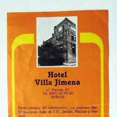 Folletos de turismo: HOTEL VILLA JIMENA BURGOS, AÑOS 70, DOBLEZ EN EL CENTRO. Lote 112326607