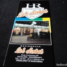 Folletos de turismo: RESIDENCIA LES CLOSES ESCALDES ANDORRA. Lote 117383363