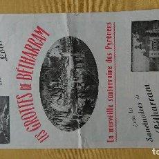 Folletos de turismo: LES GROTTES DE BETHARRAM. LOURDES . Lote 117797067