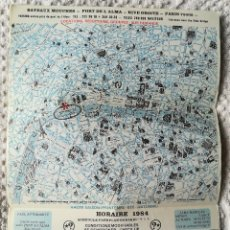Folletos de turismo: ANTIGUO MINI PLANO PLAN DE PARIS 1984 . BATEAUX - MOUCHES . TAMAÑO A4 . ANTIQUE. Lote 119358283