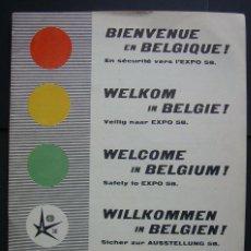 Folletos de turismo: EXPOSICION INTERNACIONAL DE BRUSELAS. BELGICA 1958. GUIA CON CONSEJOS DE SEGURIDAD.. Lote 120108327