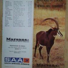 Folletos de turismo: MARSANS SAFARI DE CAZA EN ÁFRICA DEL SUDOESTE ANTIGUO FOLLETO SOUTH AFRICAN AIRWAYS 57X23 R50. Lote 120585743