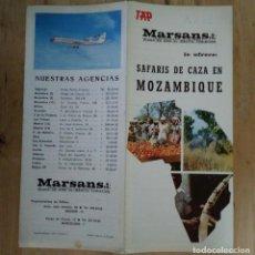 Folletos de turismo: MARSANS SAFARIS DE CAZA EN MOZAMBIQUE ANTIGUO FOLLETO 40X23 PRECIOS LICENCIAS DE CAZA TAP R50. Lote 120585795