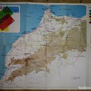 Maroc marruecos antiguo folleto de turismo en francés mapa marruecos