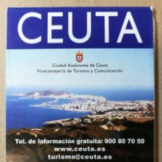 Folletos de turismo: FOLLETO TURÍSTICO, TURISMO, DIPTICO MAPA PLANO CEUTA. Lote 122308879