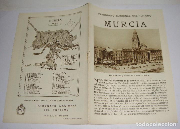 FOLLETO TURÍSTICO. PATRONATO NACIONAL DEL TURISMO. MURCIA. CON PLANO Y FOTOGRAFÍAS. (Coleccionismo - Folletos de Turismo)