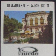 Folhetos de turismo: PUBLICIDAD RESTAURANTE-SALÓN DE TÉ PINEDO (BURGOS CAPITAL). Lote 124012267